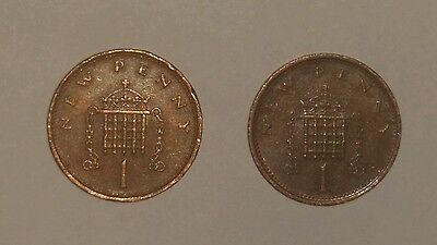 2 x New 1 pence coins  1981