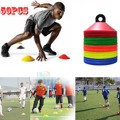 50pack Sports Training Discs Markers Cones Soccer Afl Exercise Personal Fitness