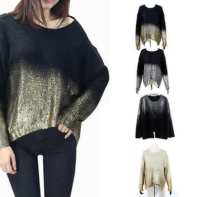 Fashion Women Clothes Tops Long Sleeve Gilding Loose Knitted Pullover Sweater