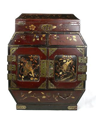 Early 20th C. Japanese Jewellery Cabinet Chest of Drawers Gilt Birds Foliate
