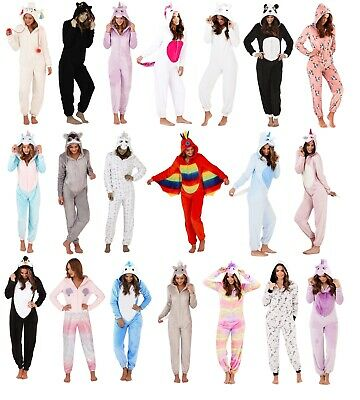 Womens 3D Onezee All In One Fleece Pyjamas Fancy Dress Costume Jumpsuit