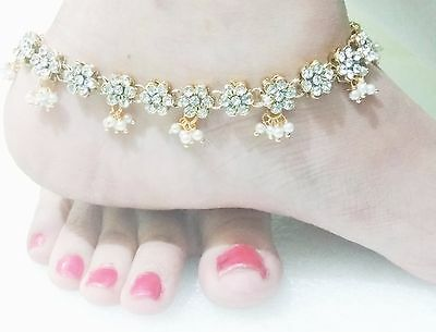 Ethnic Indian Bridal Gold Tone Pearl Kundan PAYAL ANKLET Flower Bracelet Jewelry
