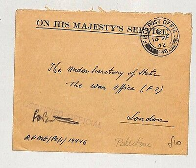 I268 1942 (WW2) Field Post Office, Palestine to 'The War Office' London, Cert'