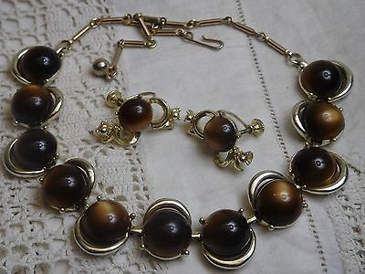 Vintage 1950s Brown Lucite Cabochon Necklace & Screw Back Earrings CORO
