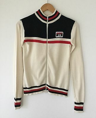 VTG Sporty Racer Double Zip Cardigan With Stripes Size M Excellent Condition
