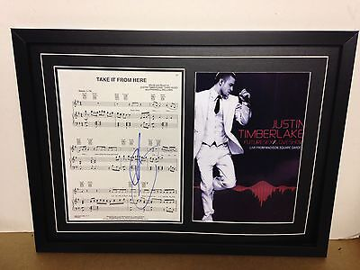 Justin Timberlake Genuine Hand Signed/Autographed Songsheet with Poster and COA