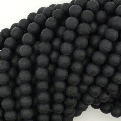 """Matte Faceted Black Onyx Round Beads Gemstone 15"""" Strand 4mm 6mm 8mm 10mm 12mm"""