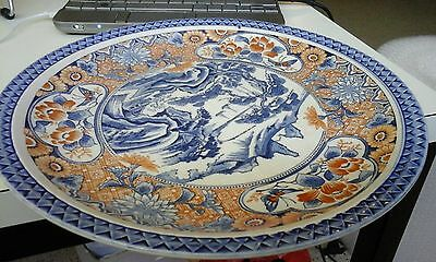 beautiful Antique Vintage blue&white Chinese style 31cm plate good cond.