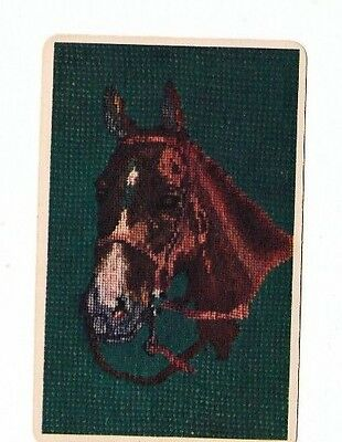1 Playing Swap Card Vintage Horse Head Pixellated Blank Back