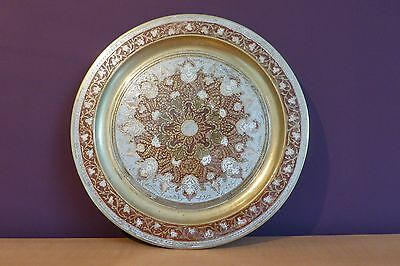 Vintage Painted Brass Plate