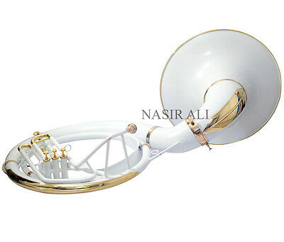 WHITE COLORED + BRASS POLISHED Bb PITCH SOUSAPHONE FOR SALE WITH FREE CASE + MP