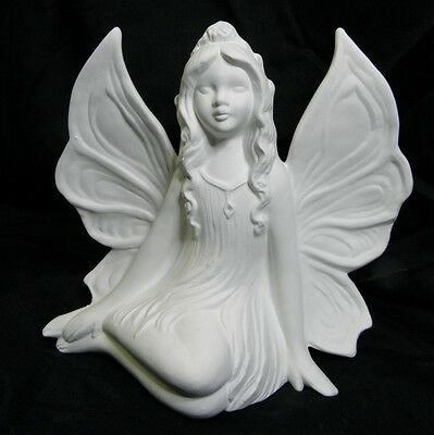 Ready to Paint Ceramic Bisque Side Sitting fairy