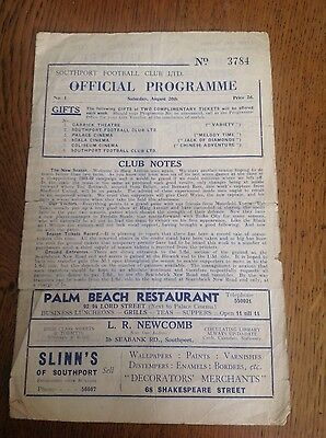 Southport v Mansfield Town football programme 20/8/49