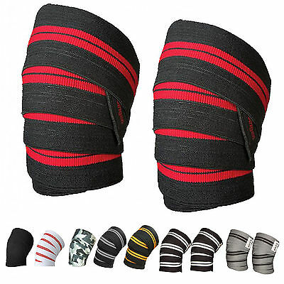 """Power Weight Lifting Knee Wraps bandage Straps 78"""" long and 3"""" wide Elasticated"""