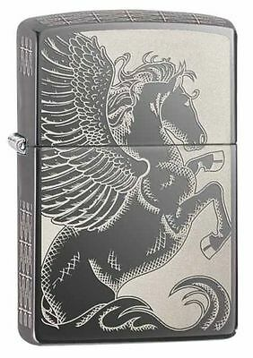 Zippo 28802, Winged Pegasus, All Sides, Black Ice Chrome Finish Lighter