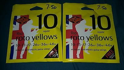 Rotosound 10 yellows electric guitar strings x 2