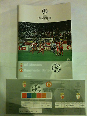 MINT 1997/98 AS Monaco v Manchester United Champions League with Ticket