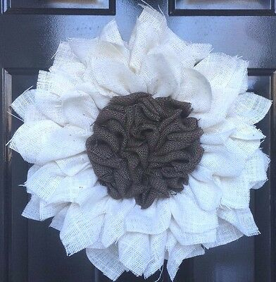 Burlap Sunflower Wreath Creme And Brown