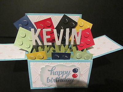 Handmade  3D Birthday  Card in a box -Lego, PERSONALISED