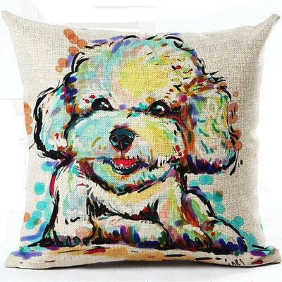 Cute Dog Throw Pillow #4 Bishon Linen Abstract Colorful ANIMAL RESCUE DONATION