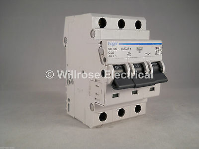 Hager MCB 32 Amp Triple Pole 3 Phase Circuit Breaker Type C 32A 463332 NC332