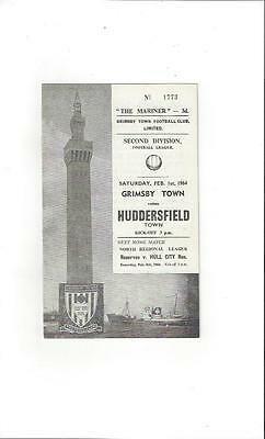 Grimsby Town v Huddersfield Town 1963/64 Football Programme