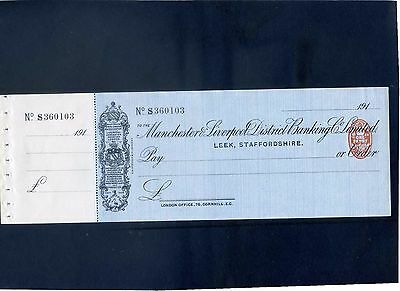 Unused Manchester,Liverpool, District Banking Ltd 191* Cheque with  counterfoil