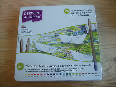 Derwent Academy Watercolour Pencils 24 Tin - Watersoluble Assorted Colour Set