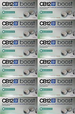 12x CB12 Boost Eucalyptus White Sugar Free Chewing Gum for bad breath whitening
