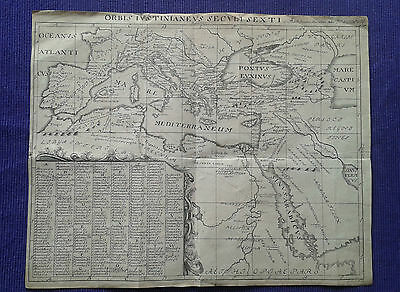 Very Old Map of Mediterranean Sea 45 x 35 cm - a sheet of paper with a watermark