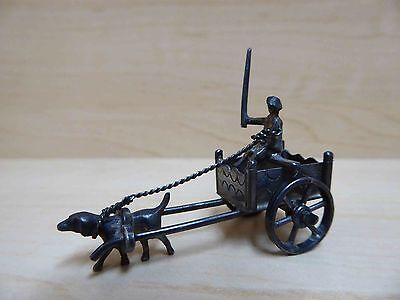 Vintage Silver Miniature Dog Pulling Man in Cart - Moving Wheels
