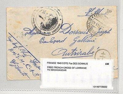 I424 1943 (WW2) Somalia, Free French 'Cross of Loraine' to Madagascar - Scarce