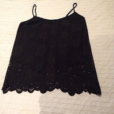 New Look Black Lace Camisole Top, Size 10
