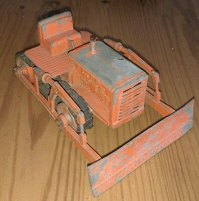 Vintage Retro Collectable Old Red Metal Toy Bulldozer