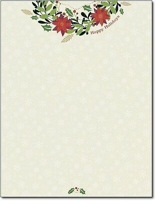 Happy Holiday Wreath Letterhead - 80 Sheets Inkjet Laser Printer compatible