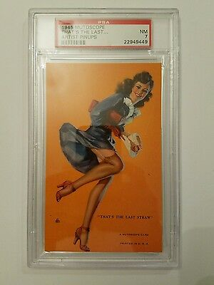 """1945 Mutoscope Card """"That's The Last Straw"""" Artist Pin Up Series #51 PSA NM 7"""