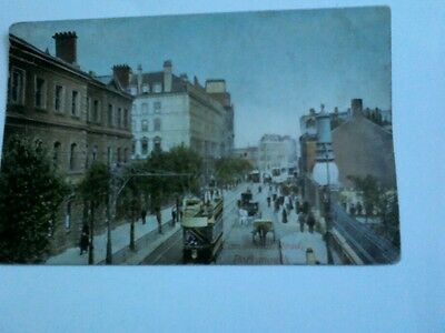 Commercial Road, Portsmouth Tinted Postcard-Unposted, Written Upon-Nice item