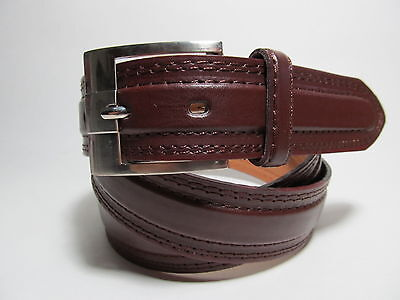 "Men new Brown leather belt with Silver Buckle XL 42 - 44"" #5063"