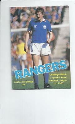 Rangers v Ipswich Town Friendly Footall Programme 1981/82