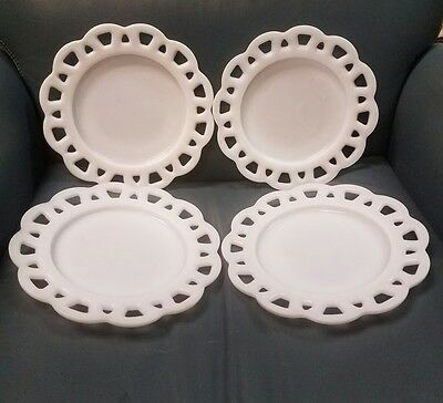 "Set Of 4  Hazel Atlas  Open Lace Milk Glass Plates - 8 3/8"" Opaque"