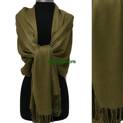 NEW Solid 100%Pashmina Wrap Stole Cashmere Shawl/Scarf Soft Oliver Green #W01