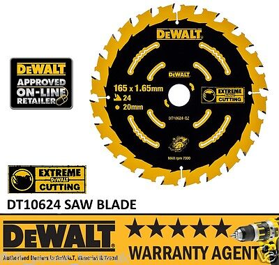 DEWALT DT10624 165MM X 20MM Bore TCT Extreme Cordless Saw Blade 24 Tooth DCS391