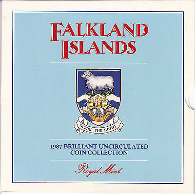 1987 The Falkland Islands Uncirculated Coin Collection In Presentation Pack