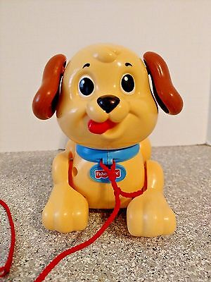Fisher Price Pull Toy Puppy Plastic Tan With Red String Excellent Condition
