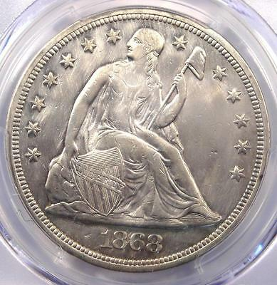 1868 Seated Liberty Silver Dollar $1 - PCGS XF Details (EF) - Rare Date Coin!
