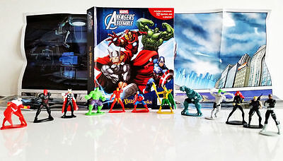Marvel Avengers Busy Book Kids Playset 12x Figures Playmat Cake Toppers NEW