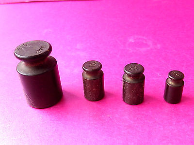 Antique Set Of 4 Solid Brass Graduated Small Weights.