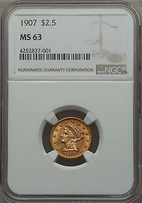 1907 $2.50 Gold NGC MS63 (37001)
