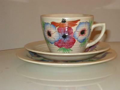 Stunning Vintage Clarice Cliff Handpainted Cup,saucer & Side Plate Trio