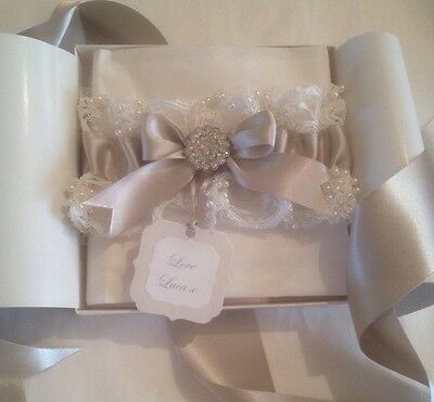 Luxury Handmade Wedding Garter Ivory Lace And Pearl With Presentation Box